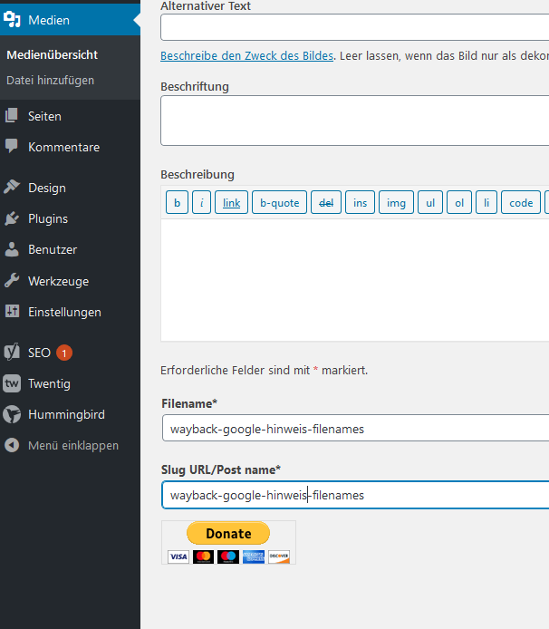 Rename Media Plugin fuer WordPress