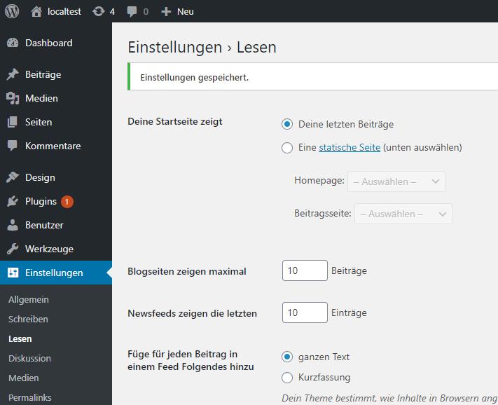WordPress Startseite festlegen