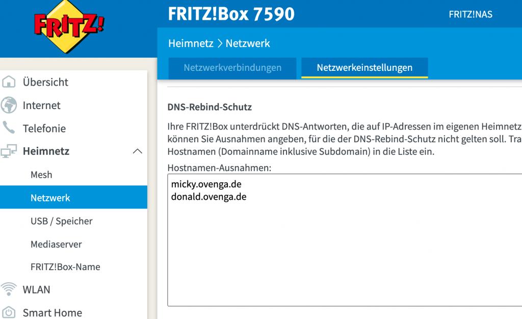 DNS Rebind Schutz bei der Fritz Box